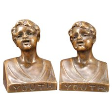 "Vintage Bronze Clad ""YOUTH"" Weidlich Bros WB 639 Statue Bust Sculpture Bookends"