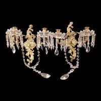 Vintage Cut Crystal Prism Bronze Gilt Wall Sconce Candelabra Glass Bobeches Lamp