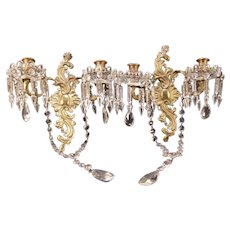 Vintage Cut Crystal Prism Bronze Gilt Wall Sconce Candelabra Glass Bobeches Lamp