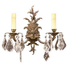 1939 Cut Crystal Prism Bronze Gilt Wall Sconce Candelabra Candle Light Lamp Snow