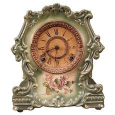 """1800's Ansonia Porcelain China""""Topic""""Flower Portrait Royal Bonn Case Mantle Clock"""