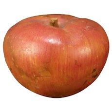Vintage Italian Alabaster Carved Stone Marble Fruit Red Apple Wood Stem LIFELIKE