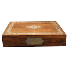 Antique Rosewood Lap Desk Inkwell Inlaid MOP Carved MOTHER of PEARL Campaign Box