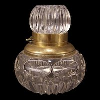 Antique EAPG Pattern Glass Inkwell Crystal Ink Stand Thumbprint Paperweight Pot~