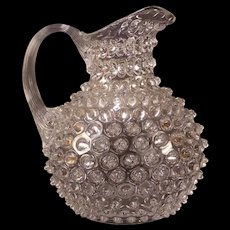 Antique 1880's HOBB's & Brockunier Dew Drop Hobnail Water Lemonade Pitcher EAPG