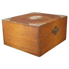 1800's Oak Storage Flatware Sterling Silver Silverware Jewelry Trinket Glove Box
