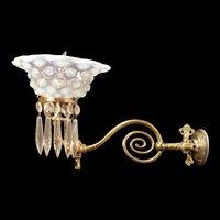 Antique Opalescent Coin Spot Dot Glass Prism Brass Sconce Gas Lamp Light Fixture