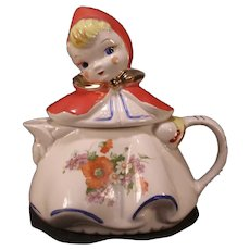 RARE 40's Little Red Riding Hood Hull Pottery Figure Tea Pot Coffee Cold Painted