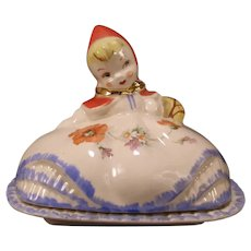 RARE 40s Little Red Riding Hood Hull Art Pottery Figure Butter Dish Cold Painted