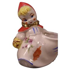 40s Red Riding Hood Hull Pottery Figure Sugar Poppy Floral Condiment Mustard Pot