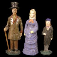3 Antique 1800's German Putz Wood Composition Christmas Village Figure Doll House Miniature