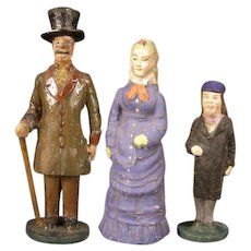 3 Antique 1800's German Putz Wood Composition Christmas Village Figure Doll House Miniature