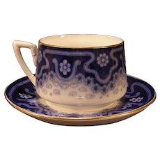 1800's LG Art Nouveau Flow Blue Transfer Ware Historical Ironstone Staffordshire