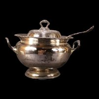 LG Victorian Repousse Silver Soup Tureen Server Covered Vegetable Dish Ladle~BIG