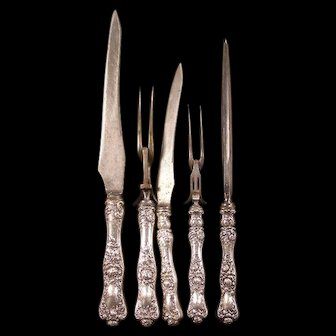 Early 1900's Victorian Shiebler Sterling Silver Carving Set 5 PC American Beauty Knife Fork