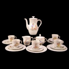 Vintage German Furstenberg Porcelain Nursery Rhyme Decorated Tea Pot Coffee Set