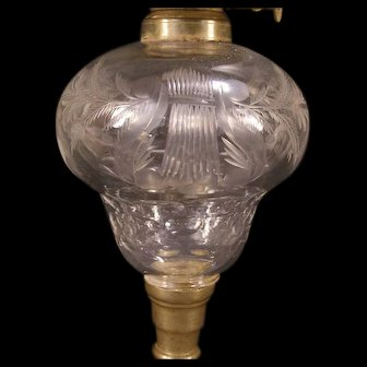 Early 19th c Cut Flint Boston Sandwich Blown Glass & Brass Harp Pattern Oil Lamp