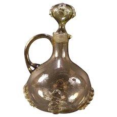 Antique Moser Hand Blown Applied Rigaree Olive Green Glass Pitcher Cruet Bottle