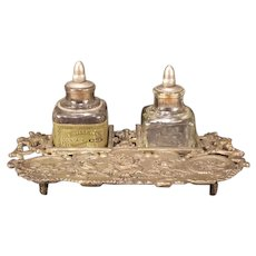 Antique Bronze Cast Iron Dragon Figure Ink Well Stand Carter Fountain Pen Bottle