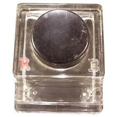 Vintage Morriset Glass Inkwell Bakelite Top Pen Stand Holder Paperweight Tray