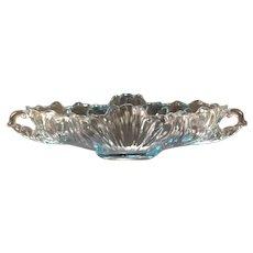 Vintage 1950's Jeannette Glass Capri Blue Center Piece Bowl Gondola Fruit Dish