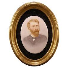 19 c HAND PAINTED Oil Portrait Vincent van Gogh KPM Porcelain Plaque Oval Frame