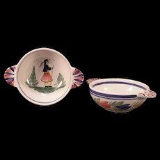 Vintage Henriot Quimper Faience French Peasant Man Woman H PAINTED Portrait Bowl