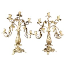 1800's Victorian SOLID BRONZE Grape Vine Gold Dore Gilt Relief Candelabra PAIR