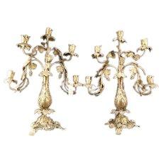 1800's Victorian SOLID BRONZE Grape Vine Gold Dore Gilt Relief Candelabra PAIR