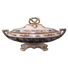 19th Century Chinoiserie Polychrome Transfer Ware Ironstone Figural Covered Soup Tureen