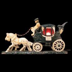 Vintage Cast Iron Carriage Stage Coach Doorstop Statue Lamp TV Light Sculpture