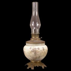 "1800's MT. WASHINGTON Oil Lamp Crown Milano Kero Glass ""Wild Roses"" Enamel Hand Painted"