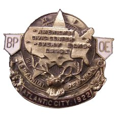 1922 Elks BPOE Stag ENAMEL Pin Atlantic City Badge Lodge 58th Reunion Fraternal