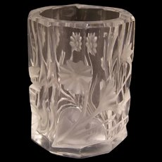 Vintage Deep Acid Intaglio Cut Crystal Glass Match Safe Toothpick Holder Vase
