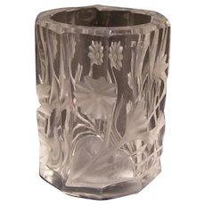 Vintage Deep Acid Intaglio Cut Crystal Glass Match Safe Toothpick Holder Vase