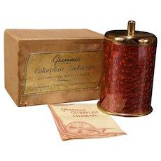 40s Grammes Guilloche Enamel Humidor Match Holder Tobacco Cigar Desk Jar ORG Box