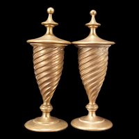 Large Antique 19c French Architectural Newel Post Empire Bronze Finial Staircase Pair