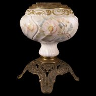 RARE 1800's Consolidated Glass Hercules Pattern Swirl GWTW Parlor Oil Lamp