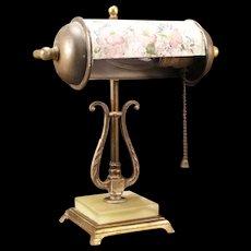 Vintage Brass Onyx Violets Flower Banker Desk Adjustable Piano Student Lyre Lamp
