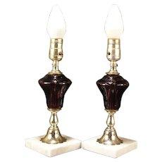 PAIR Vintage Marble Base Brass Column Purple Glass Oil Font Boudoir Table Lamp