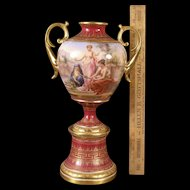 19 c Antique Royal Vienna Austria Portrait Hand Painting Porcelain Gilt Urn Vase