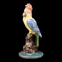 Antique Cast Iron Parrot Door Stop Bird COCKATOO Statue Figure Polychrome Porter