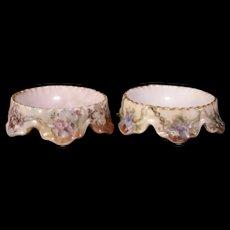 Pair 1890s Haviland Limoges French Porcelain Salt Dip Cellar Floral Footed Dish 19c