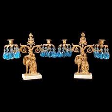 PR 19 c Bronze Blue Crystal Cut Prism Candelabra Luster Girandole Candle Holder