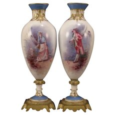 1800's French Sevres Porcelain Signed Bronze Painted Gold Gilt Portrait Urn Vase