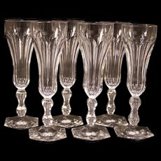 19 c French Cut Panel Crystal Stem Flute Cordial Goblet Champagne Wine Glass Set