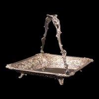 1800's Silver Plate Repousse Fruit Bride Flower Bread Basket Calling Card Holder Dish