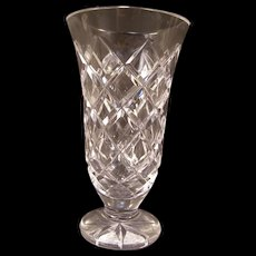 Vintage Waterford Kinsale Cut Crystal Glass Flower Bud Trumpet Pedestal Footed Vase