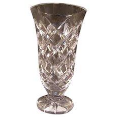 Vintage Waterford Kinsale Cut Crystal Glass Flower Bud Trumpet Pedestal Footed Vase