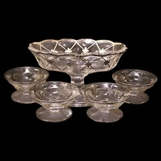 Vintage Sterling Silver Overlay Master Salt Cellar Nut Dessert Set Colonial EAPG